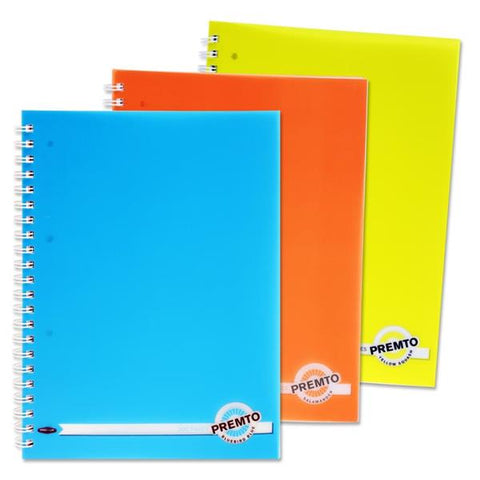 Premto Neon A4 200pg PP Wire Notebooks Assorted 3 Pack