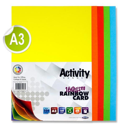 A3 Assorted Activity Card 200 Sheets 160gm - Rainbow