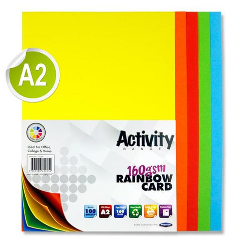 A2 Assorted Activity Card 100 Sheets 160gm - Rainbow