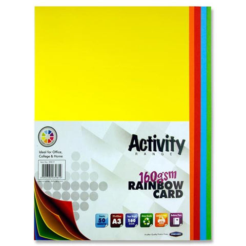 A3 Assorted Activity Card 50 Sheets 160gm - Rainbow