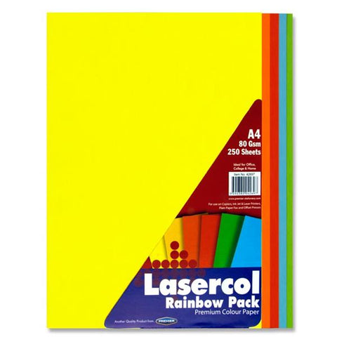 Lasercol A4 Assorted Colour Paper 250 Sheets 80gsm - Rainbow