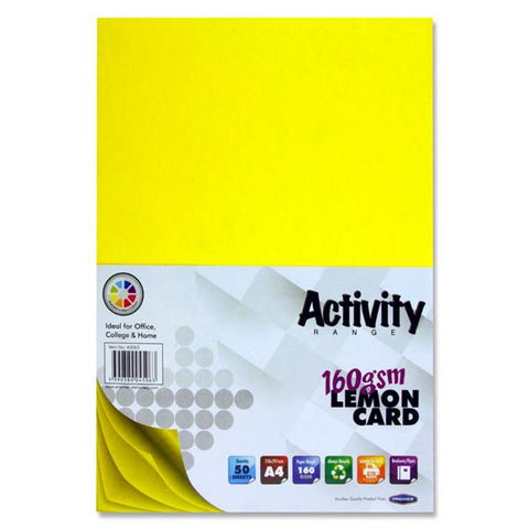 A4 Activity Card 50 Sheets 160gm - Lemon
