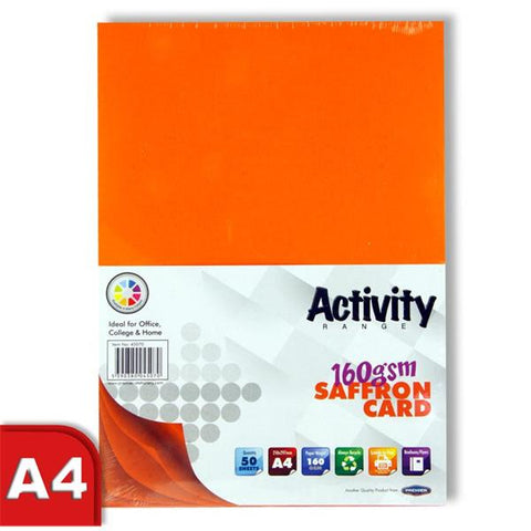 A4 Activity Card 50 Sheets 160gm - Saffron