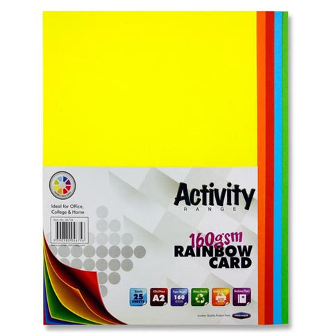 A2 Assorted Activity Card 25 Sheets 160gm - Rainbow