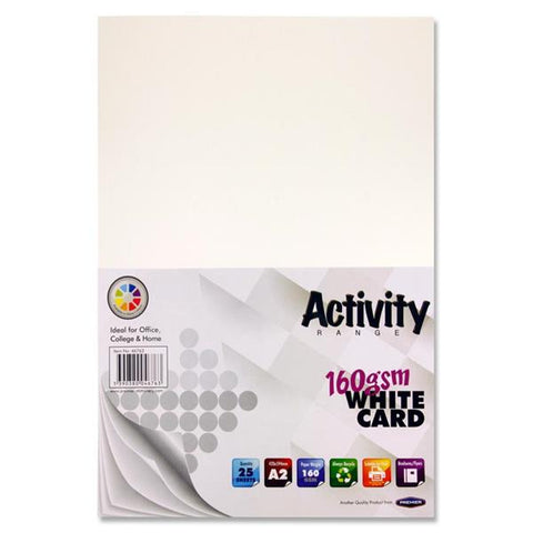 A2 White Card 25 Sheets 160gm