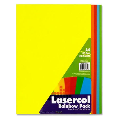 Lasercol A4 Assorted Colour Paper 100 Sheets 80gsm - Rainbow