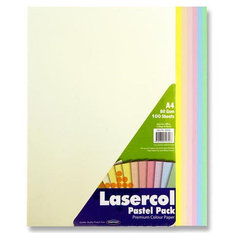 Lasercol A4 Assorted Colour Paper 100 Sheets 80gsm - Pastel