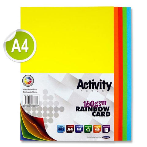 A4 Assorted Activity Card 250 Sheets 160gm - Rainbow