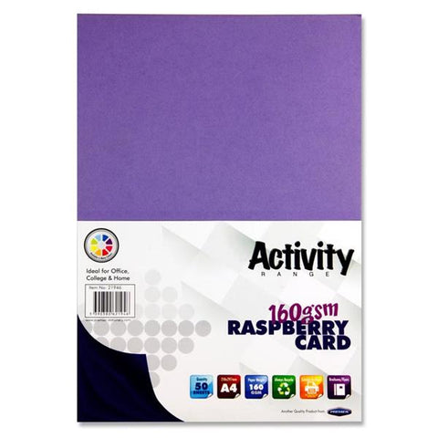 A4 Activity Card 50 Sheets 160gm - Raspberry