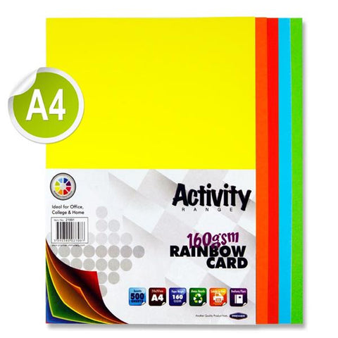 A4 Assorted Activity Card 500 Sheets 160gm - Rainbow