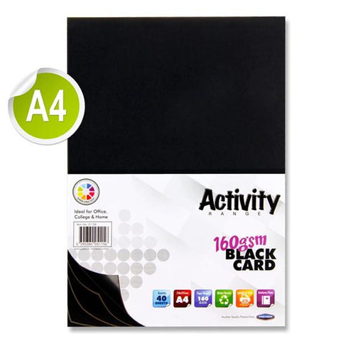 A4 Activity Card 40 Sheets 160gm - Black