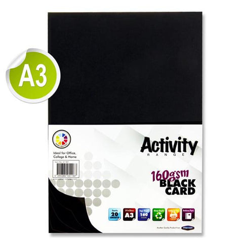 A3 Black Card 20 Sheets 160gm