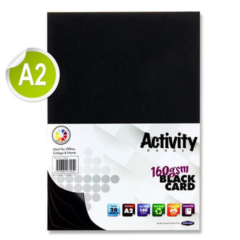 A2 Black 20 Sheets 160gsm Card
