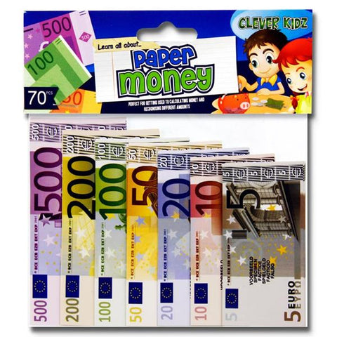 Clever Kidz Paper Euro Money Set Pack 70