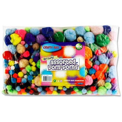 Crafty Bitz Assorted Bag 454g Pom Poms