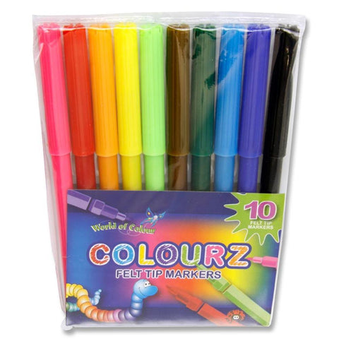 World of Colour Felt Tip Markers Assorted Colours 10 Pack