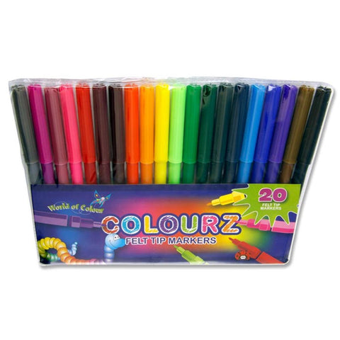 World of Colour Felt Tip Markers Assorted Colours 20 Pack