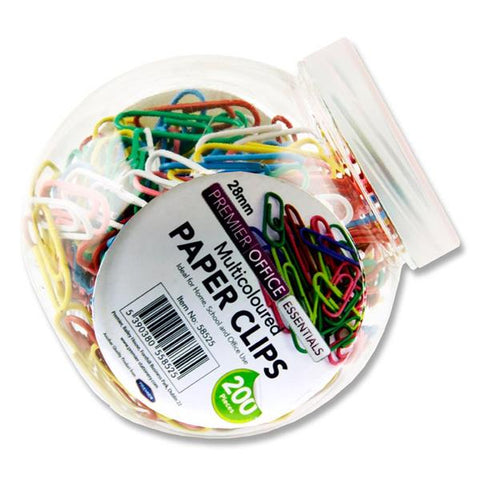 Paper Clips - Premier Office Tub 200 28mm Multicolour