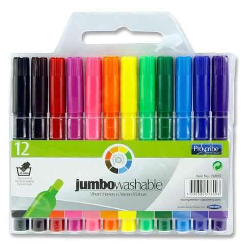 Pro:scribe Jumbo Washable Markers Pack 12