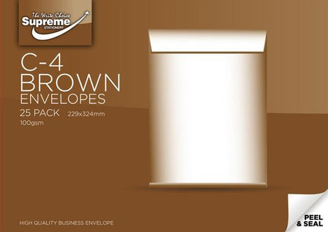 Supreme C4 Plain Brown/Buff Envelopes (Pack of 25)