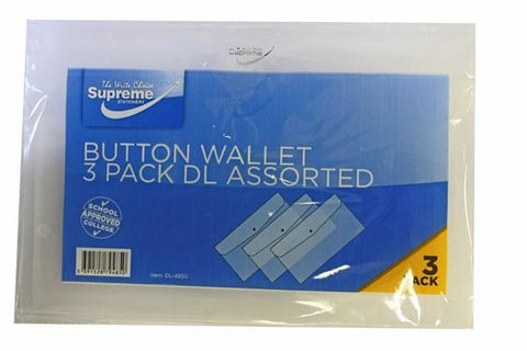 Button Wallet - DL Clear - Pack of 3