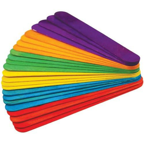 Jumbo Lollipop Sticks Assorted Colour 100 Pack
