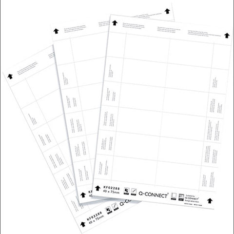 Q-Connect Name Badge Inserts 40x75mm 12 Per Sheet (25 Pack)