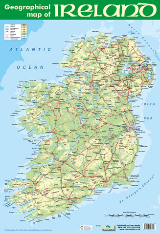 Poster 60cm x 40cm - Geographical Map of Ireland