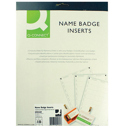 Q-Connect Name Badge Inserts 54x90mm 10 Per Sheet (25 Pack)