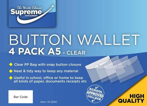Button Wallet - A5 Clear - Pack of 4