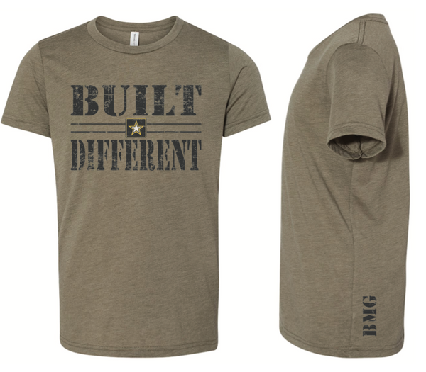 Built Different Motivational T - Distressed Olive