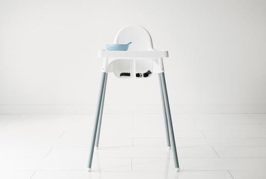 High Chair White Antilop with Tray