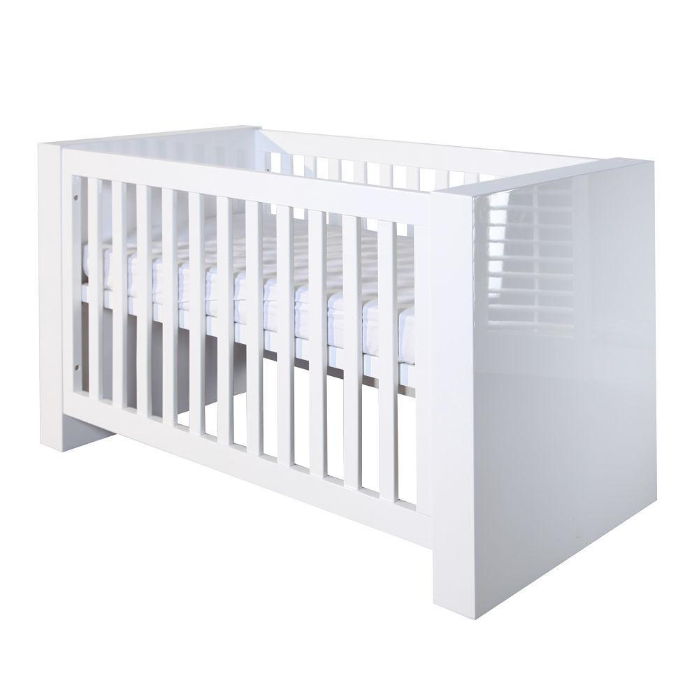 Somero White Glossy Cot Bed 140 x 70