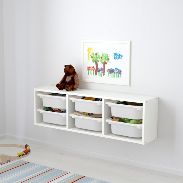 Trofast Wall Storage Combination + 6 boxes