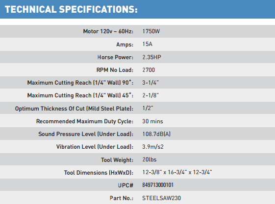EVOSAW230 Technical Specs