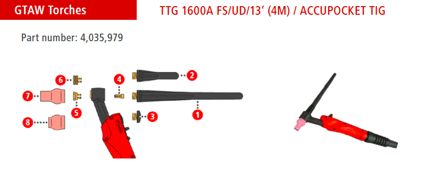 TTG1600A AccuPocket TIG Torch