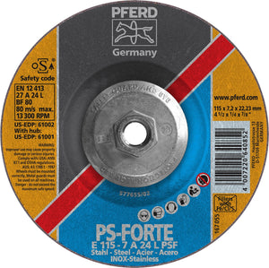 "Pferd 61001 PS Forte 4-1/2""x1/4""x5/8"" 11 Thread Grinding Wheel-ShopWeldingSupplies.com"