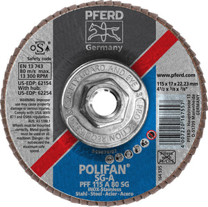 "Pferd 62254 Polifan SG A 4-1/2""x5/8"" 11 Thread Flap Disc 80GR-ShopWeldingSupplies.com"