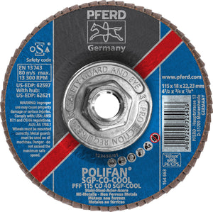 "Pferd 62621 Polifan SGP CO-COOL 4-1/2""x5/8"" 11 Thread Flap Disc 40GR-ShopWeldingSupplies.com"