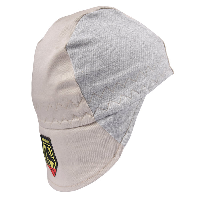 Revco FR Cotton Welding Cap with Hidden Bill Extension, Gray/Stone Khaki