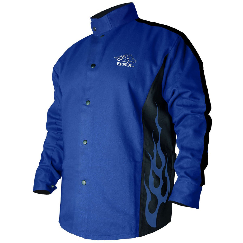 Revco BSX® Cotton Welding Jacket: Royal Blue Flames - BXRB9C-ShopWeldingSupplies.com