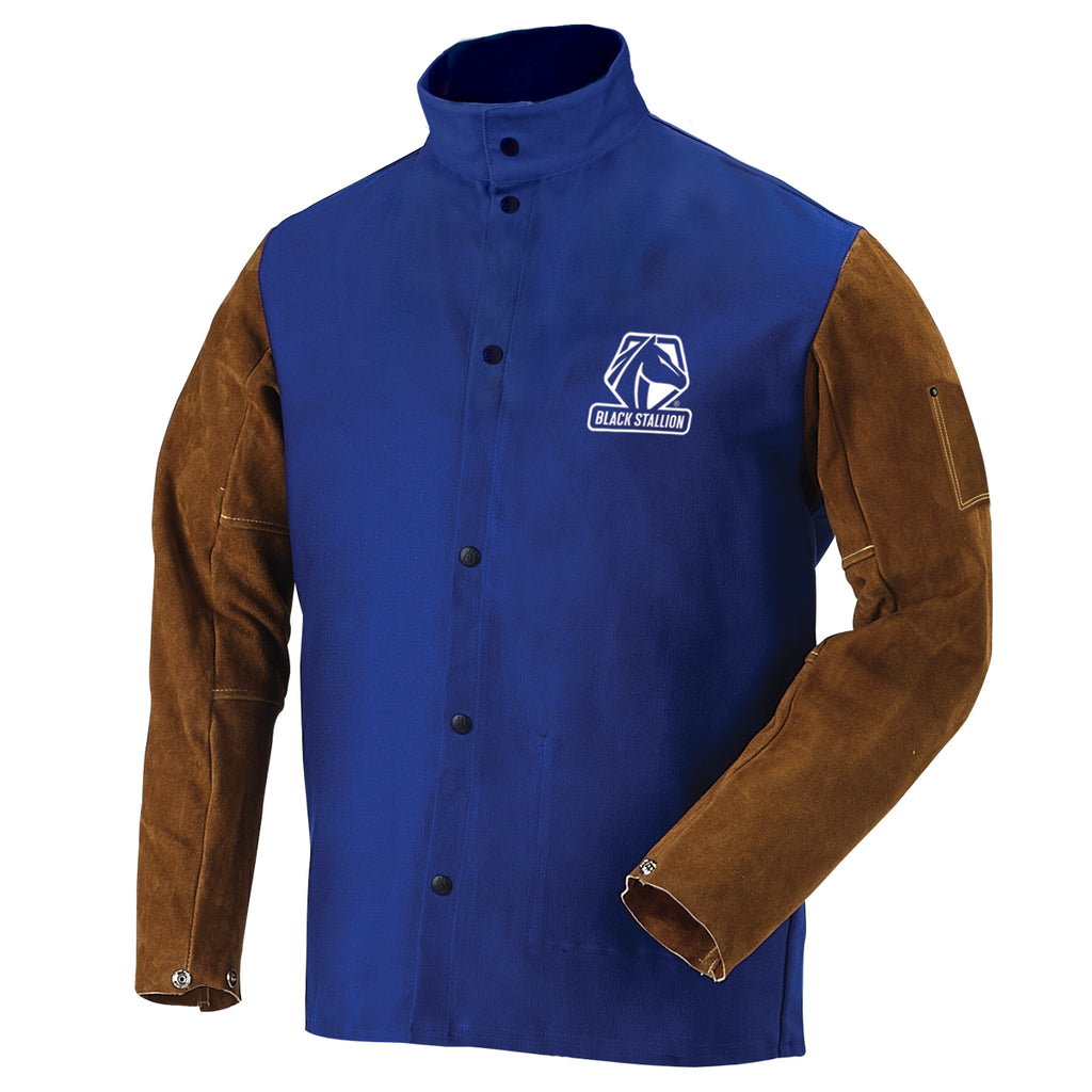 Revco FR Cotton & Cowhide Hybrid Royal Blue Welding Jacket-ShopWeldingSupplies.com