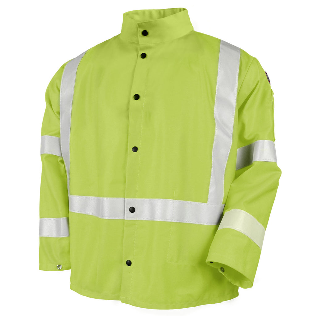 Revco Lime Safety Welding Jacket With FR Reflective Tape - JF1012-LM-ShopWeldingSupplies.com