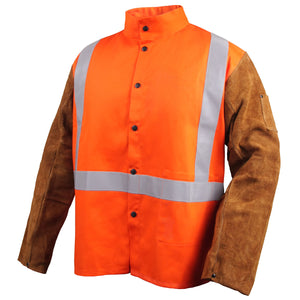 Revco Safety FR Cotton & Cowhide Hybrid Orange Welding Jacket-ShopWeldingSupplies.com