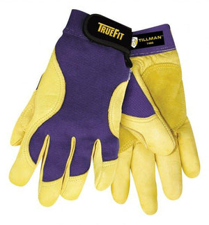 Tillman 1480 Truefit™ Palm/Purple Deerskin Work Gloves-ShopWeldingSupplies.com
