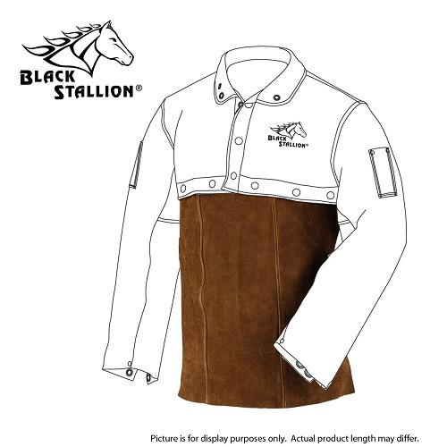 "Revco 14WB Brown Leather Split Cowhide Welding Bib - 14""-ShopWeldingSupplies.com"
