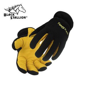 Revco 15FH-BLK Fuzzyhand Winter Work Gloves: Black Fleece/Pigskin-ShopWeldingSupplies.com