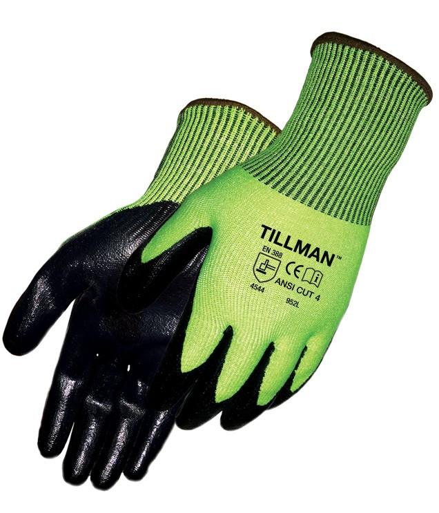 Tillman 952 Nitrile Coated Hi-Vis Gloves, Smooth, Cut Level 4