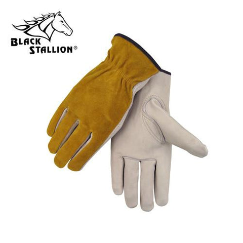 Revco 97 Drivers Work Gloves: Palm & Split Cowhide