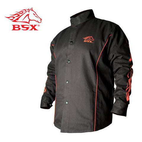Revco Cotton Welding Jacket: Black W/ Red Flames - BX9C